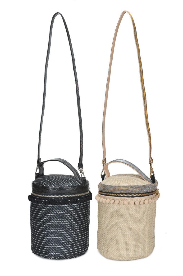 Box Bag Med. Rib. Lino Glitter - Nero - Beige