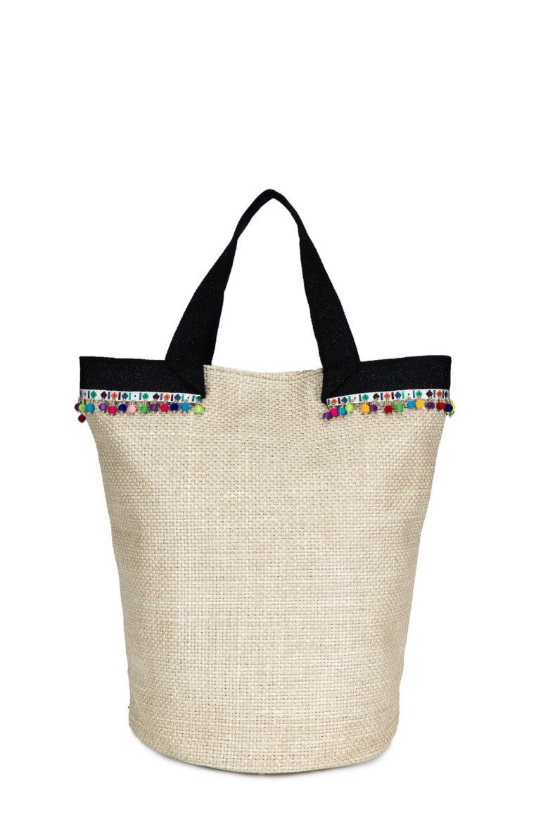 Laundry Large Rib. Lino Beige + Pon Pon Multicolor