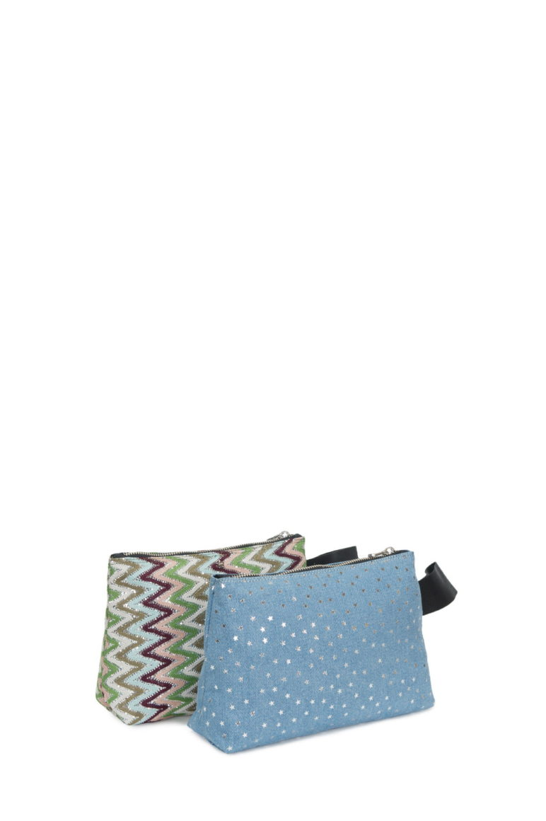 Manuela Small Glitter Zig Zag - Canvas Stelle Denim Chiaro