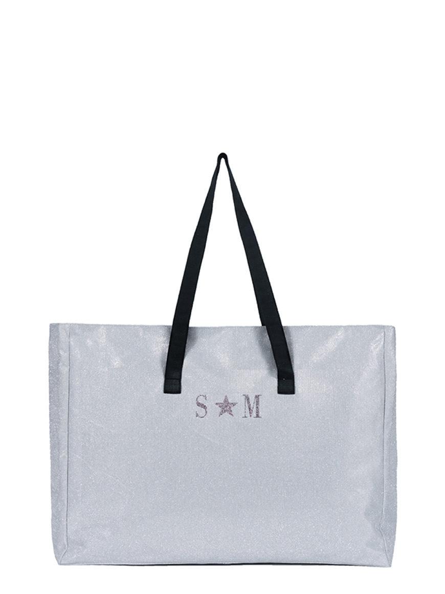 L'AURA shopping extra large glitter argento con personalizzazione