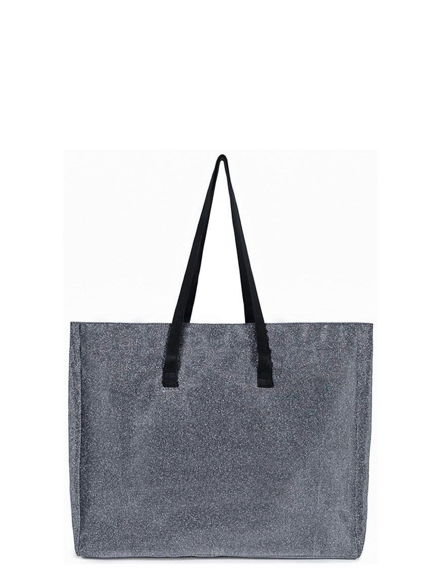 L'AURA shopping xl glitter grigio piombo