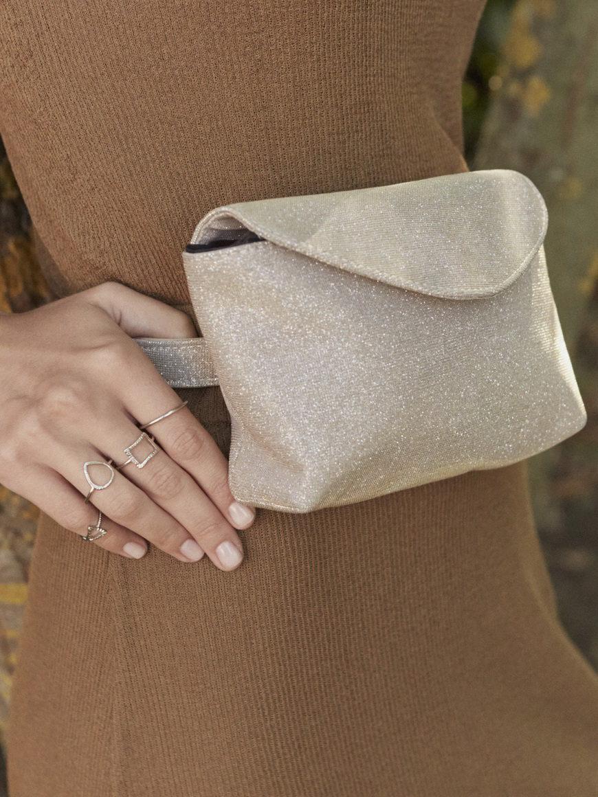 L'AURA mini bag glitter cipria