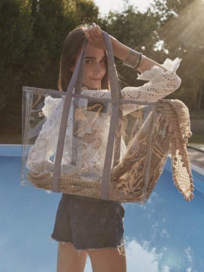 L'AURA shopping xl jolly crystal bianco-glitter cipria