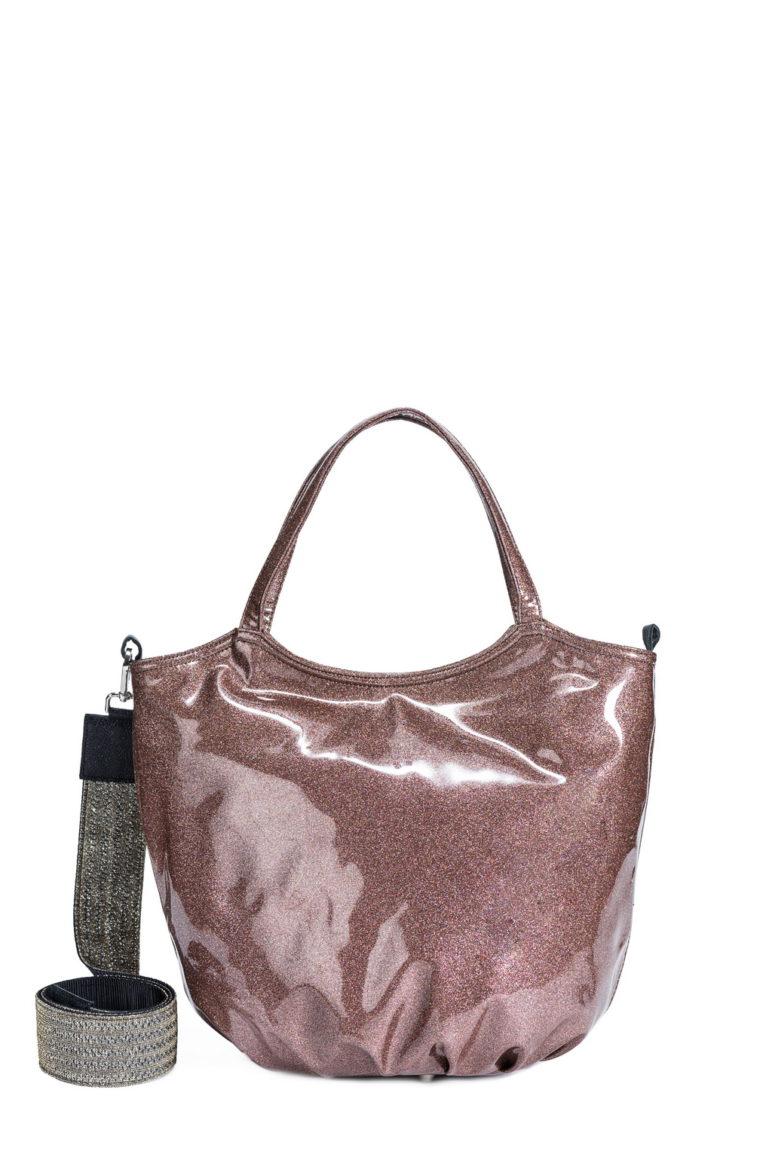 L'AURA armando medium trac.glitter vernice glitter bronzo-tracolla glitter pizzo argento
