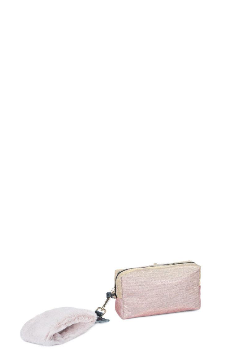 L'AURA astuccio hand glitter rosa-pelliccia rosa