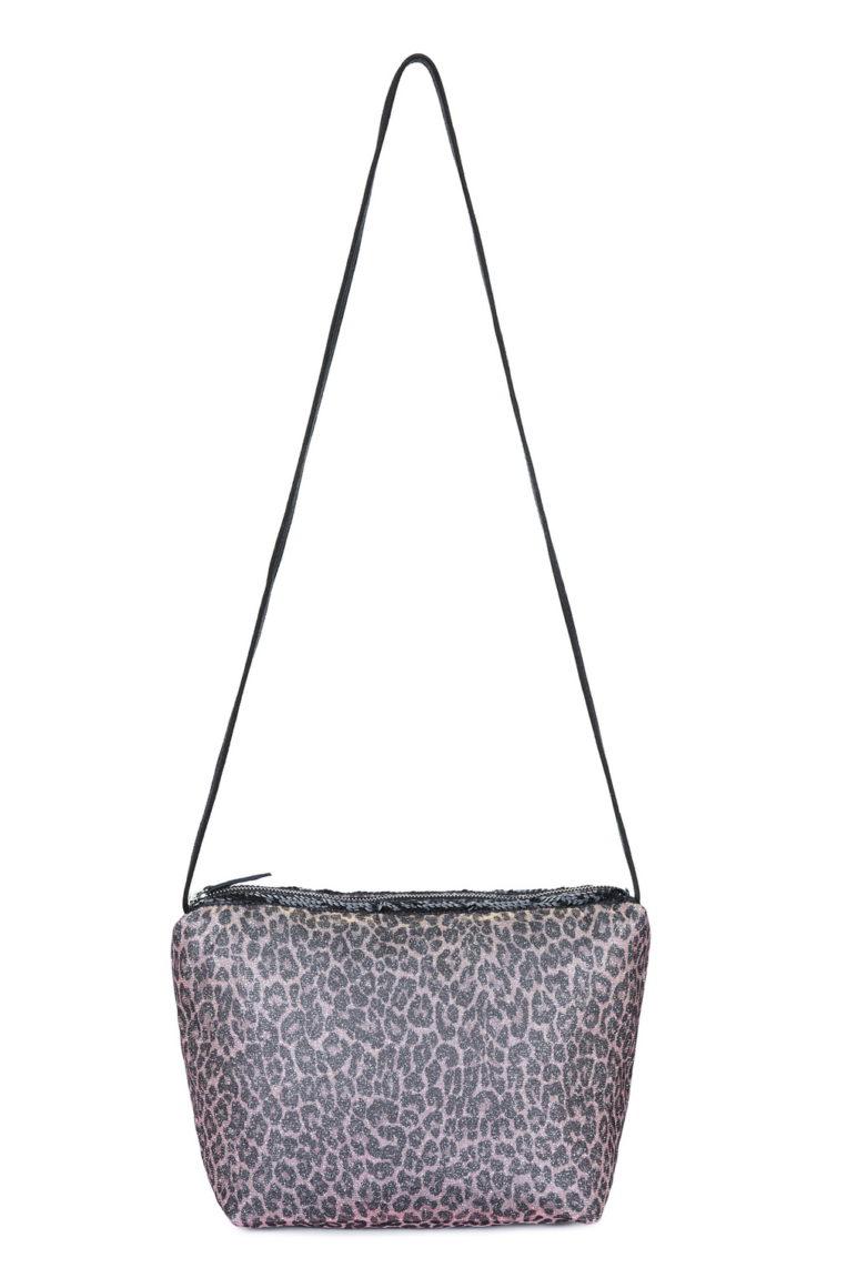 L'AURA beauty case sh paillette glitter leopardino rosa