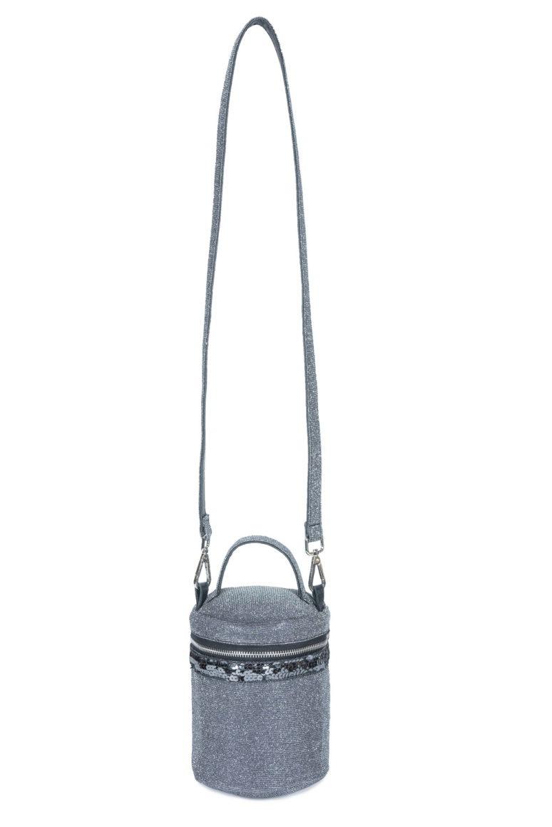 L'AURA box bag paillette glitter grigio piombo
