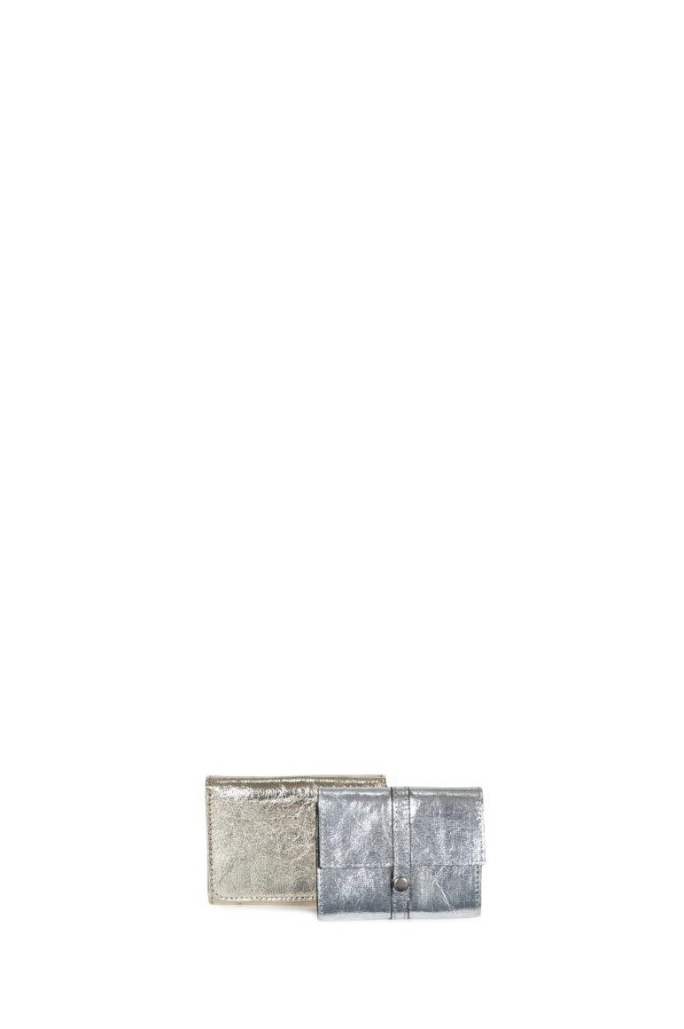 L'AURA business card vegan gold leather-vegan silver leather