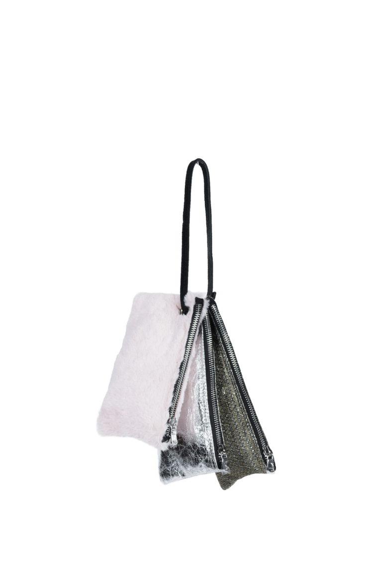 L'AURA cherry multi glitter pizzo argento-vegan silver leather-pelliccia rosa