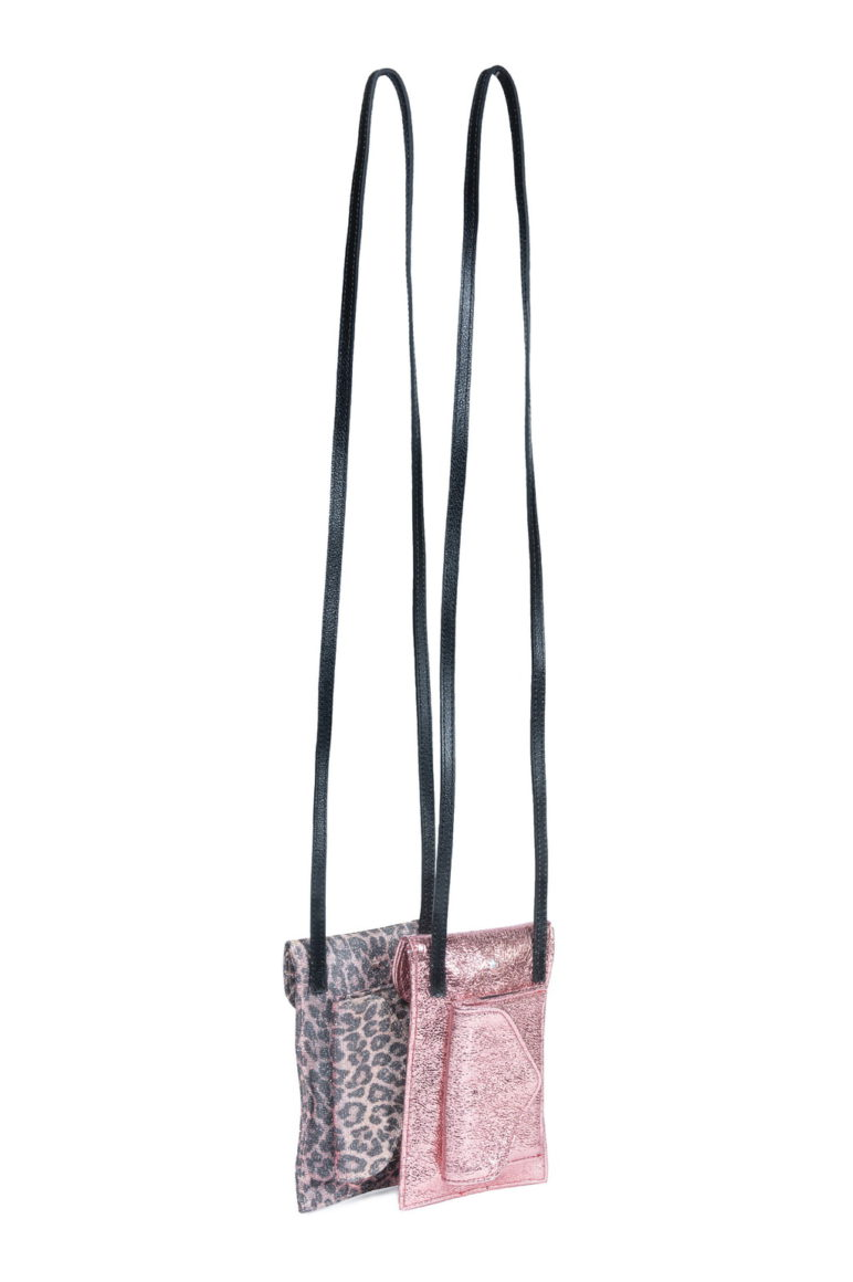 L'AURA phone bag las vegas rosa-glitter leopardino rosa