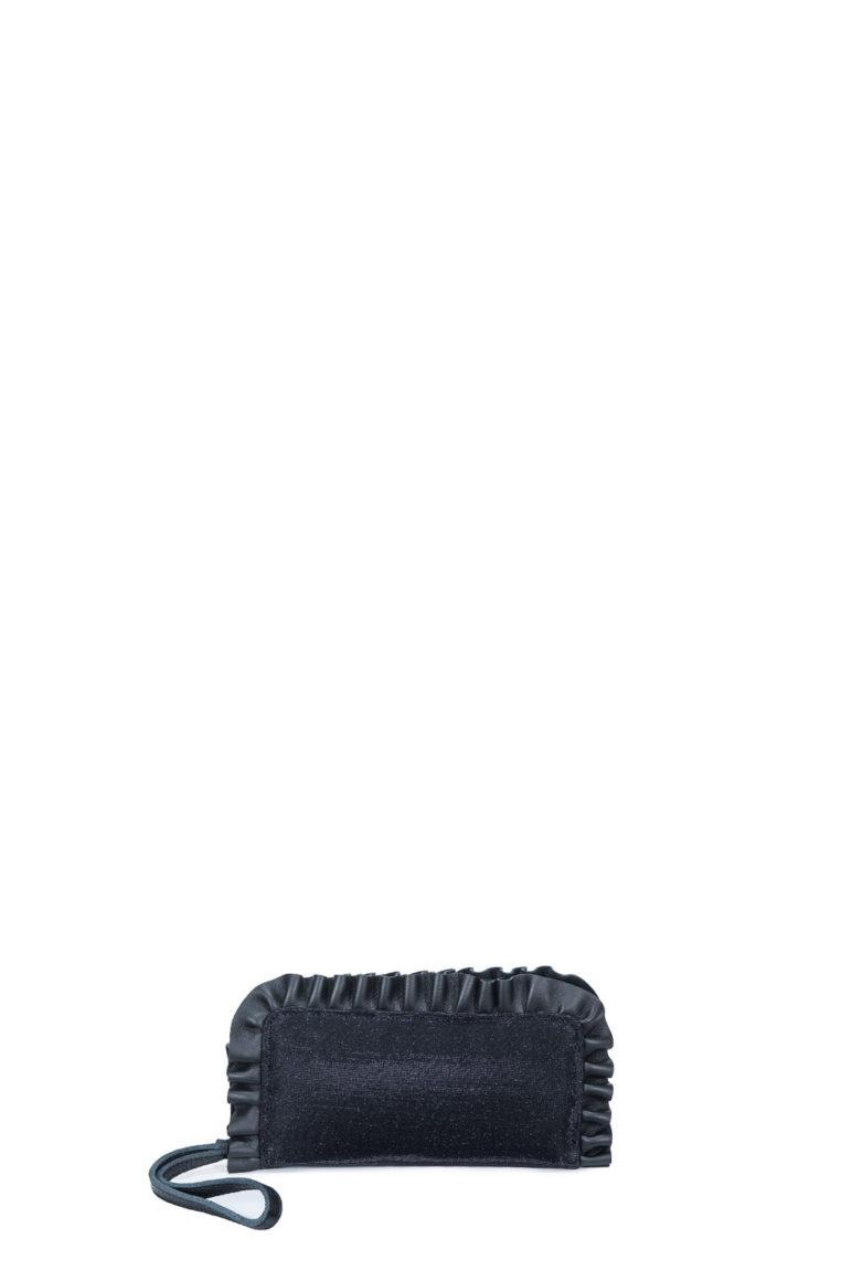 L'AURA portafoglio rouches glitter nero