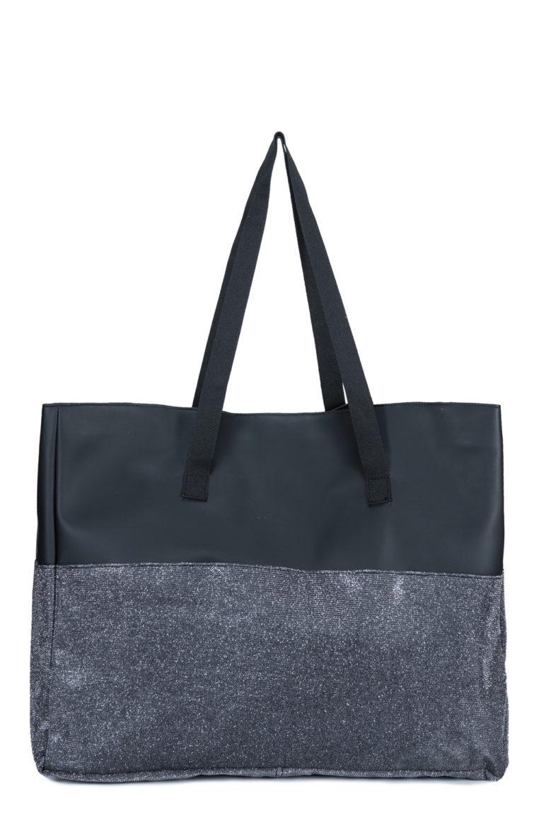 L'AURA shopping xl bicolor nappina nera-glitter grigio piombo