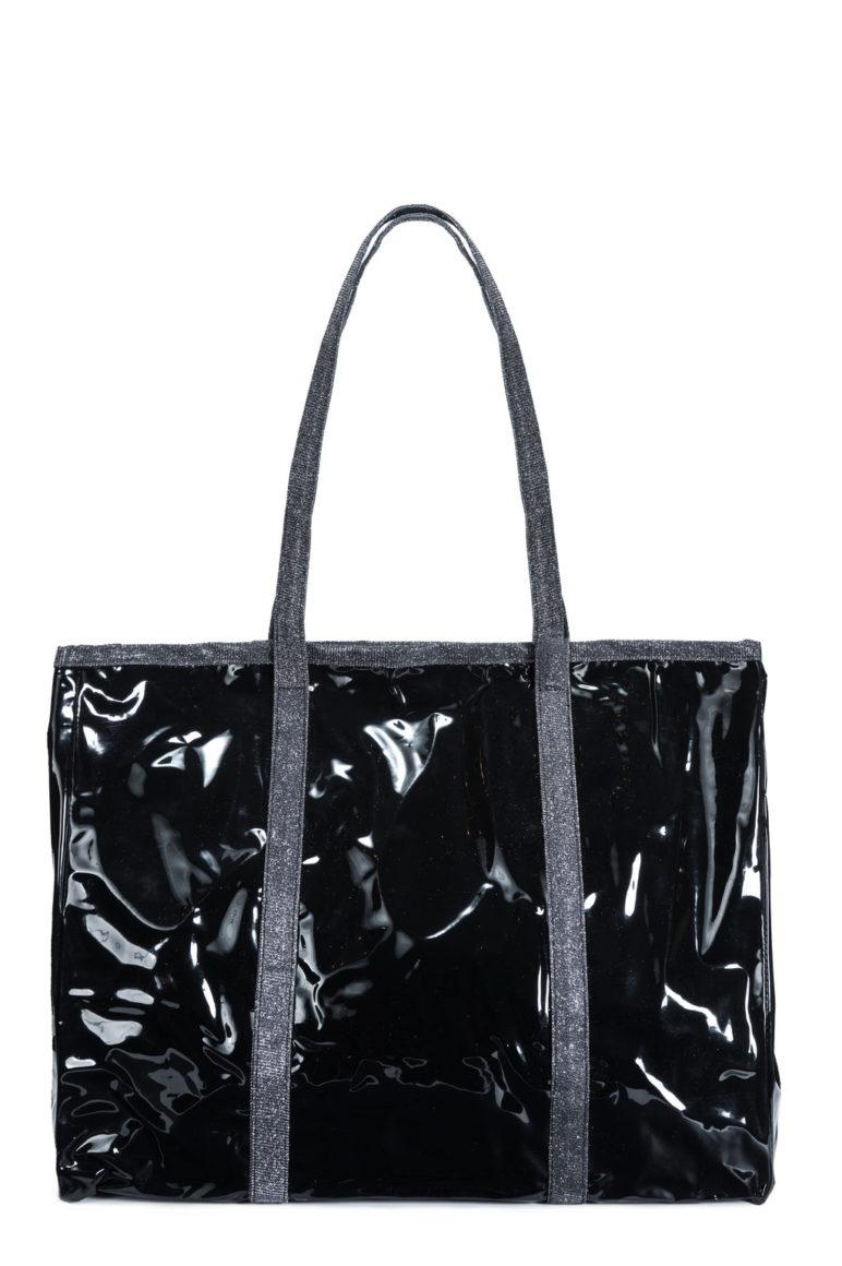 L'AURA shopping xl jolly crystal nero-glitter grigio piombo