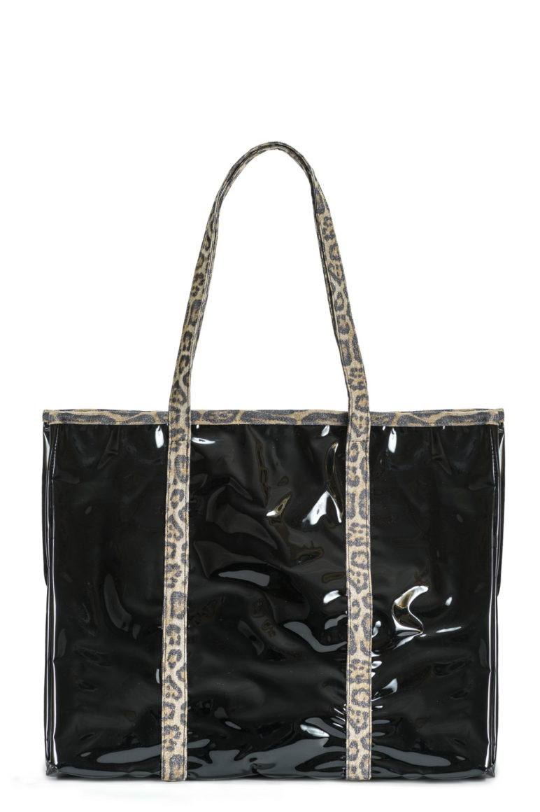 L'AURA shopping xl jolly crystal nero-glitter maculato new