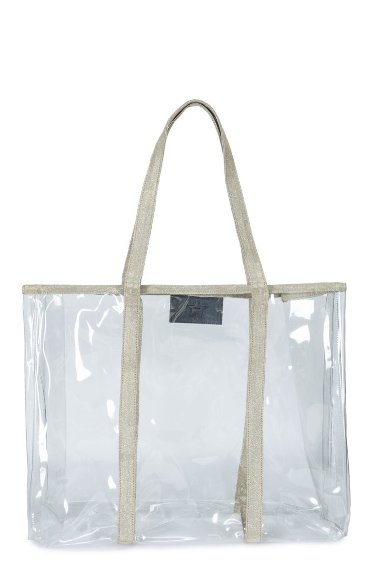 L'AURA shopping xl jolly crystal trasparente -glitter cipria