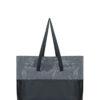 L'AURA shopping xl bicolor glitter grigio piombo-nappina nera