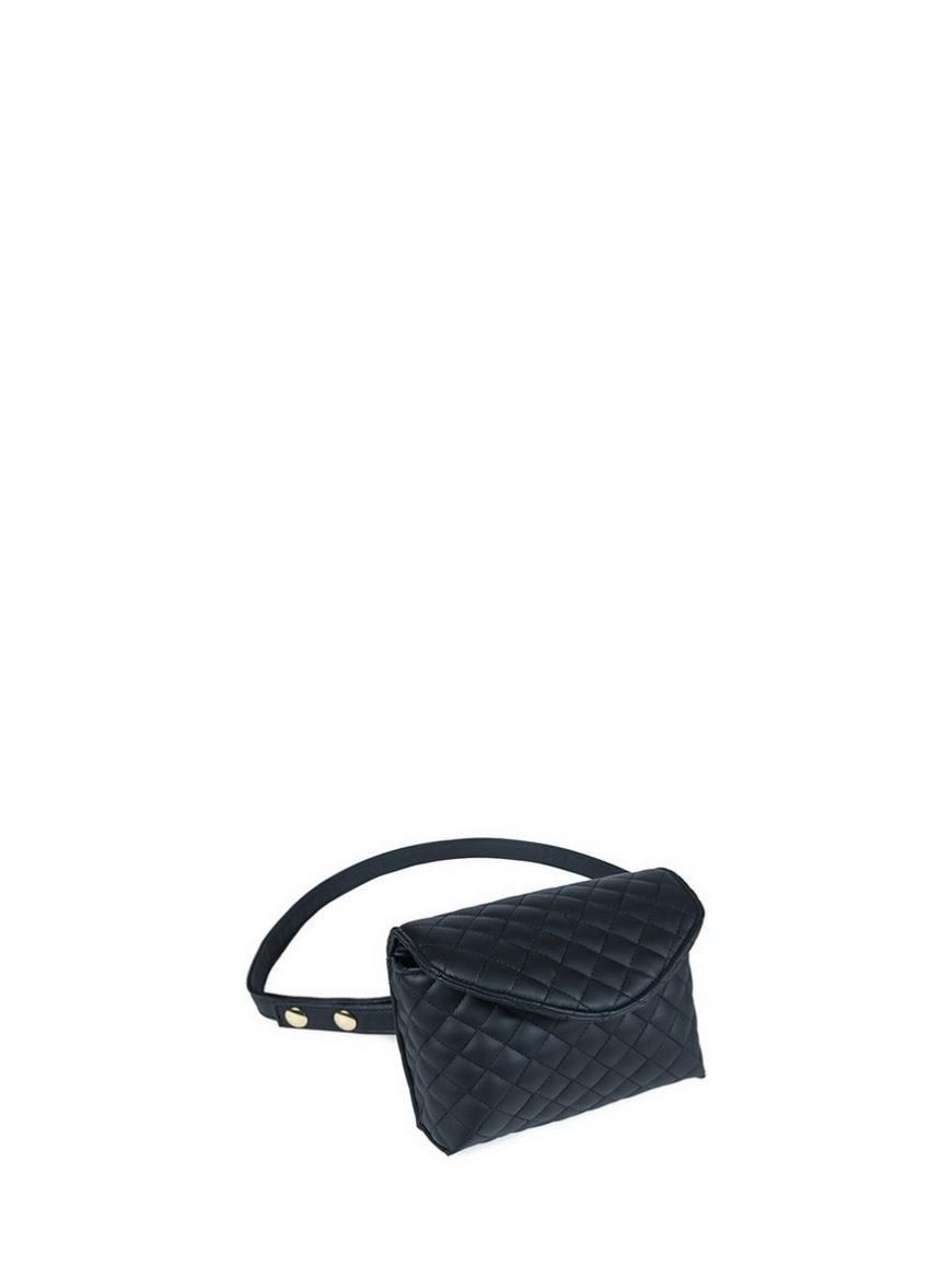 L'AURA mini bag nappina trapuntata nera