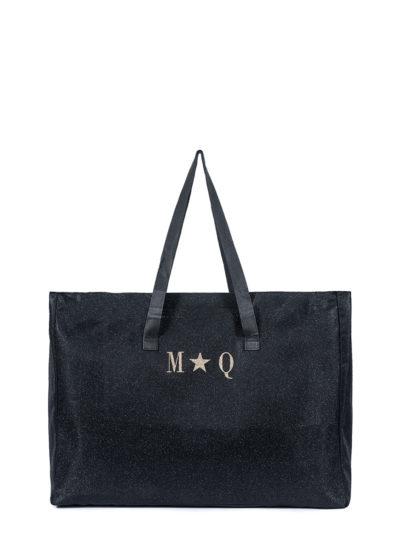 L'AURA shopping extra large glitter nero con personalizzazione