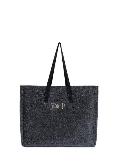 L'AURA shopping extra large glitter nero personalizzata