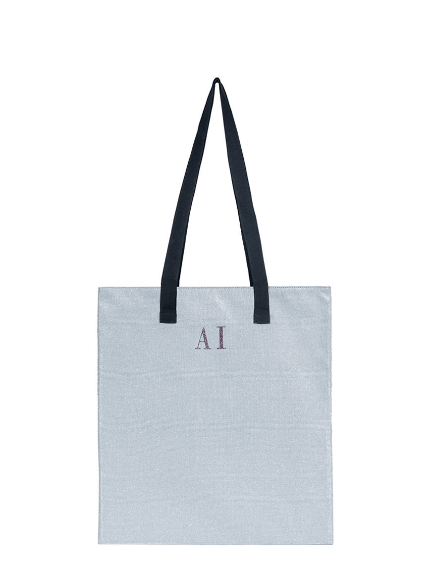 L'AURA shopping small glitter argento personalizzata