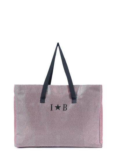 L'AURA shopping extra large glitter rosa con personalizzazione 2