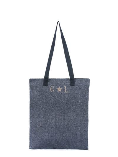 L'AURA shopping small glitter grigio piombo con personalizzazione