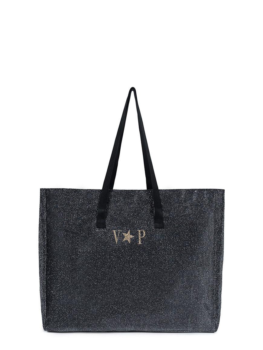 L'AURA shopping xl glitter grigio piombo personalizzata
