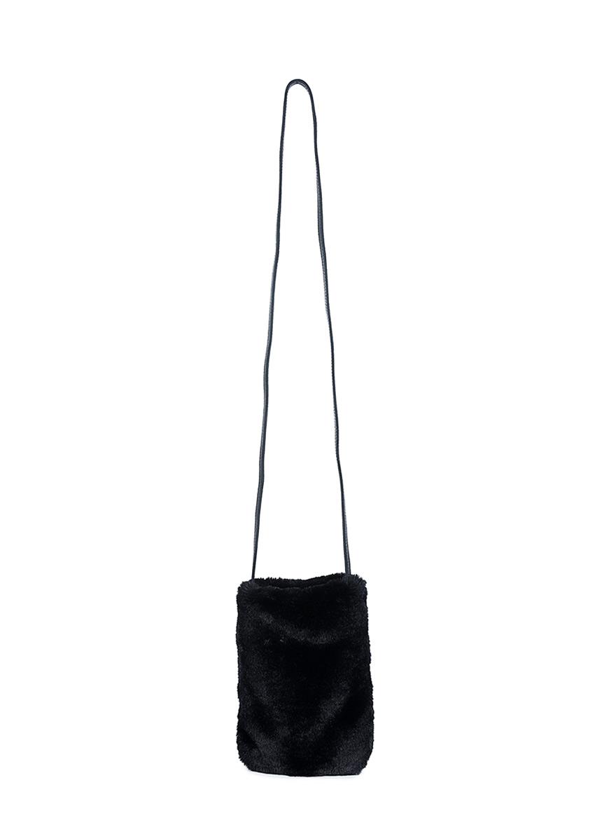 L'AURA party bag sh pelliccia nera