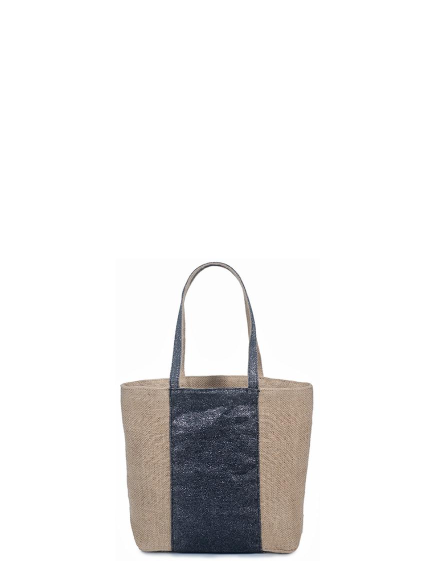 L'AURA collezione primavera estate 2021 jute bag small glitter grigio piombo