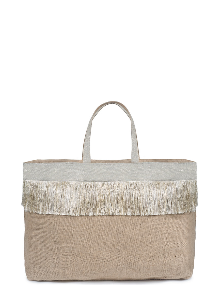 L'AURA collezione primavera estate 2021 jute bag xl fringes - glitter platino