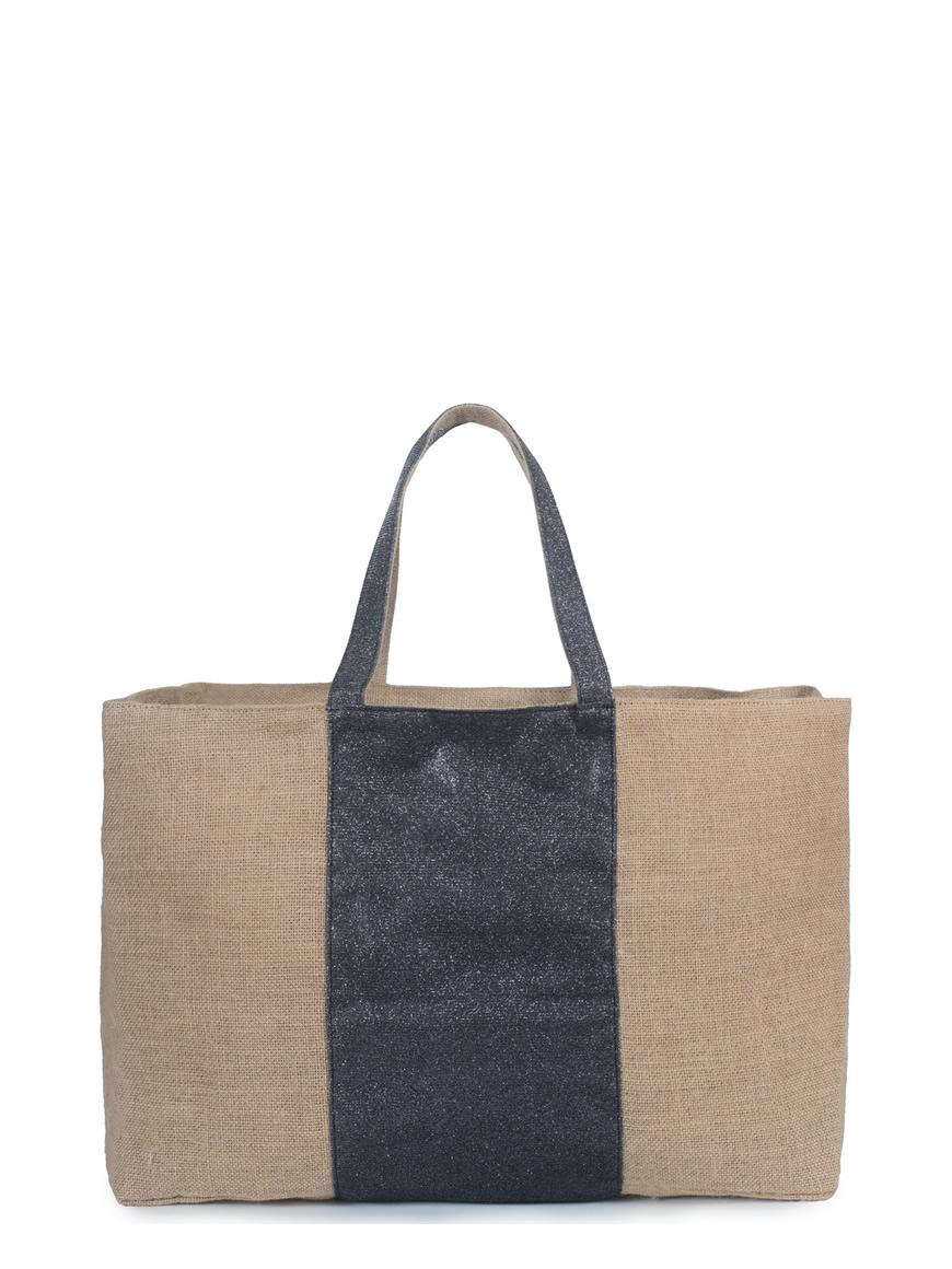 L'AURA collezione primavera estate 2021 jute bag xl stripe. jute -glitter grigio piombo