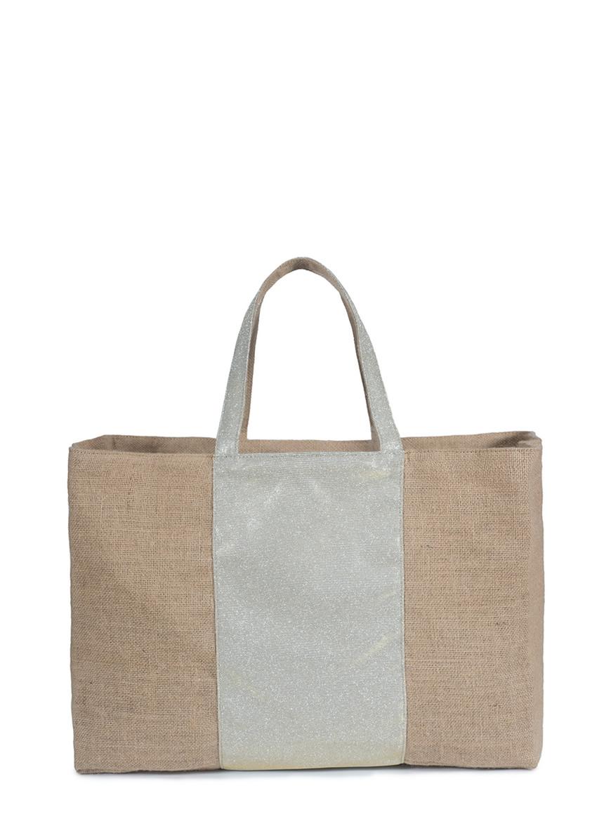 L'AURA collezione primavera estate 2021 jute bag xl stripe. jute -glitter platino