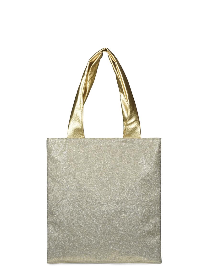 L'AURA shopping small cream glitter platino