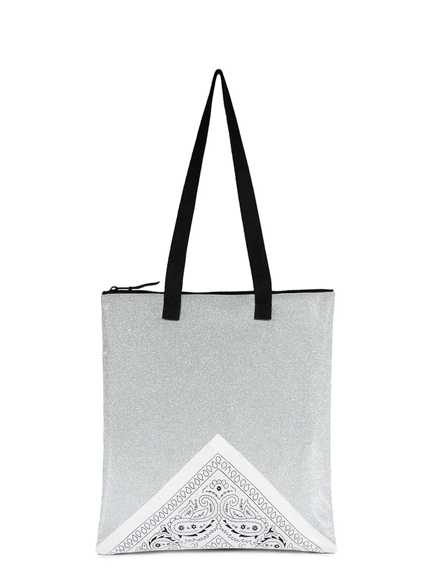 L'AURA SHOPPING SMALL BANDANA Glitter argento – Bandana bianca