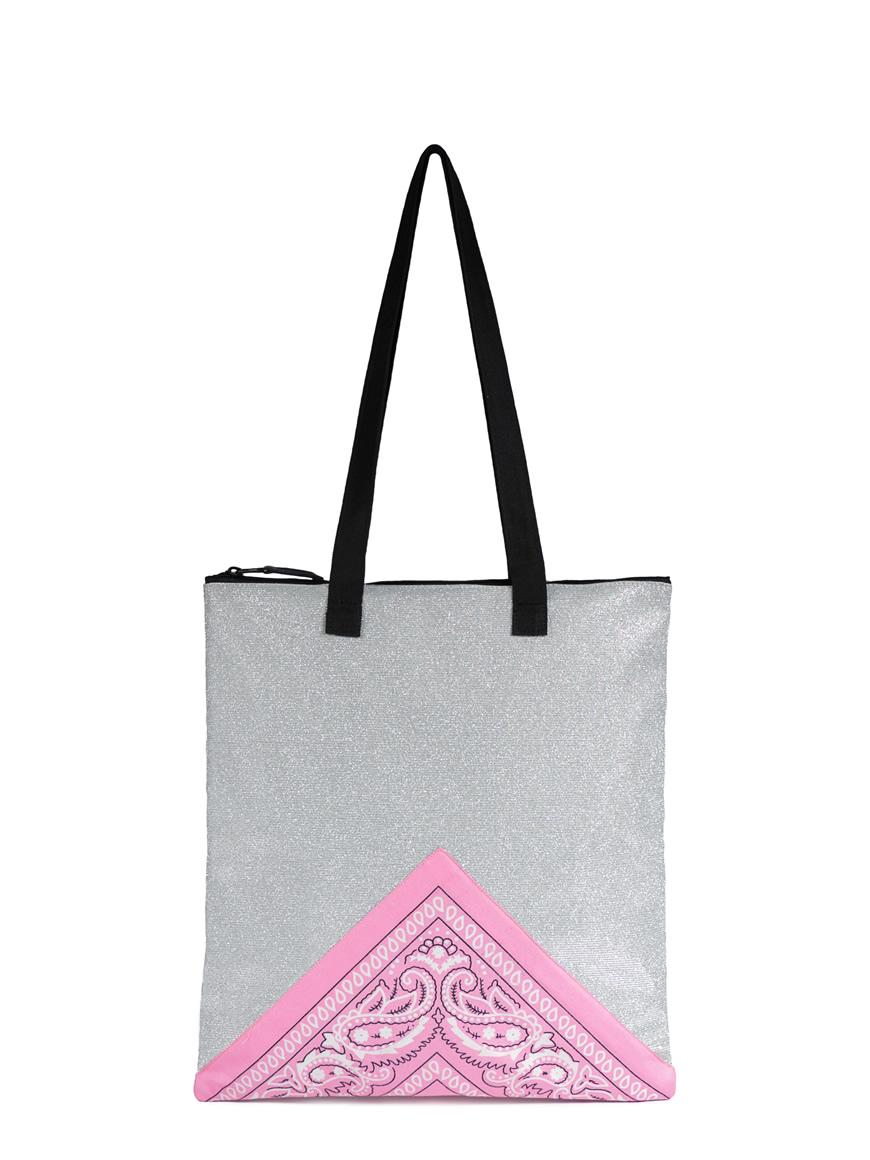 L'AURA SHOPPING SMALL BANDANA Glitter argento – Bandana rosa