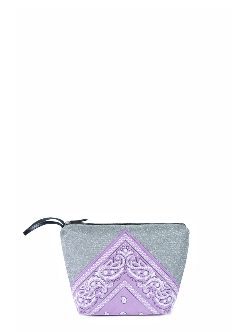 L'AURA beauty case bandana glitter grigio medio – bandana lilla