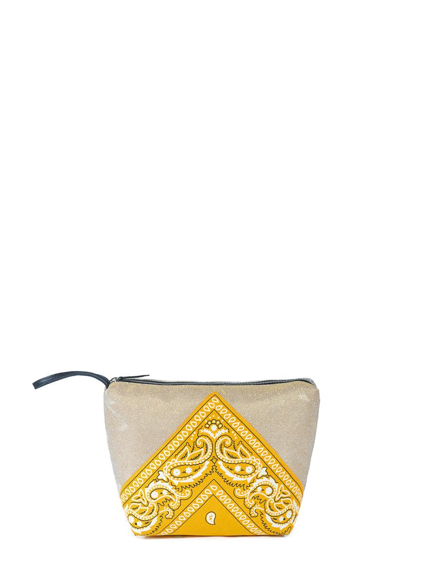 L'AURA beauty case bandana glitter platino – bandana gialla